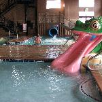 Wading pool with small water slide