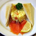 Breakfast of Smoked Salmon with Scrambled Eggs