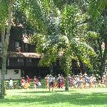 childrens parade through the grounds