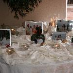 Guest book table personalized with our wedding photos.