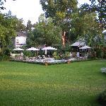 pool area, lots of beautiful lawn