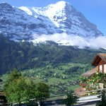 The view of Mount Eiger from Eigerblick Hotel