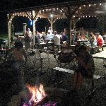 Pavillion at Night with Campfire