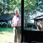 Eating breakfast in the gazebo, Herman (proprietor) serving coffee