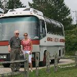 Chester and I by the coach at the cranberry bogs