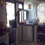 the kitchen area in La Rosa