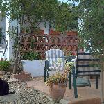La Rosa's private patio, with local cat