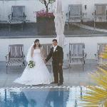 Wedding at outdoor pool