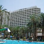 View of the hotel from the very large pool
