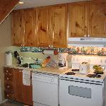 Small kitchen with no counter space.
