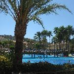The main pool with palm trees and rooms