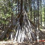 The log tepees for the kids