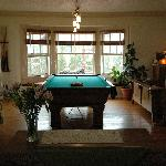 The pool table & living room