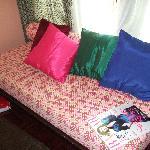 Retro circles anyone? The sofa in the room
