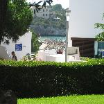 View down to the small beach from the main pool