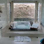 great bathroom in villa with swimming pool