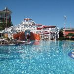 The pool has a great slide!