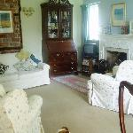Guest sitting room with Toby the dog
