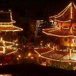 Aussicht aus Zimmer 317 auf Phantasialand-Park bei Nacht