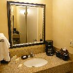 Sink, Mirror and Coffee Machine