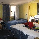"""This is a """"quad"""" room - a bit squishy with all the extra luggage (travelling with baby and child"""