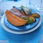 Cantaloupe and ham