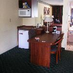 mini fridge, microwave and desk area--all very clean