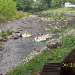 kids tubing in the river