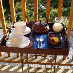 The pre breakfast tray that we enjoyed on our back deck.