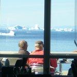 Icebergs through restaurant windows