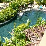 Looking over balcony at lazy river