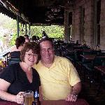 ...Judy and Randy at the Basin Park Hotel balcony...