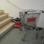 A random shopping trolley in one of the stairwells