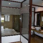 The glass walled en suite
