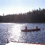 the kids canoeing