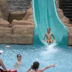 racing down the water slide