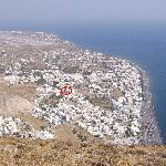Syrigos Hotel (circled) from Mount Vouna (Ancient Thira)