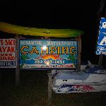 The camping sign at night!