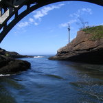 under the Depoe Bay bridge