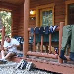 The porch doubles as a wader dryer and a place to tie on tippet for the next morning's fun.