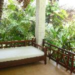 Bed outside our villa
