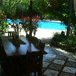 breakfast table with pool in background
