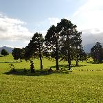 The gardens and fields with view of the kerry mountains.