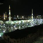 The view of the Masjid at night from the hotel room
