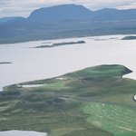view of Myvatn from mountain top