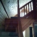Inside the cablin these stairs lead to the loft with 4 beds upstairds