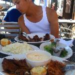 Plates of ribs, pulled pork, brisket...same bbq sauce