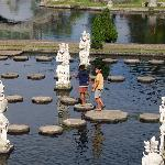 local children on stepping stones