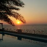 Sunset seen from the poolarea