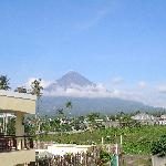view of volcano from terrace